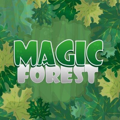 Póster Marco para la decoración de texto. Bosque encantado con hoja de arce verde - dibujos animados