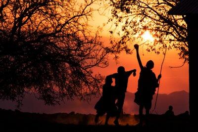 Masai niños Silueta