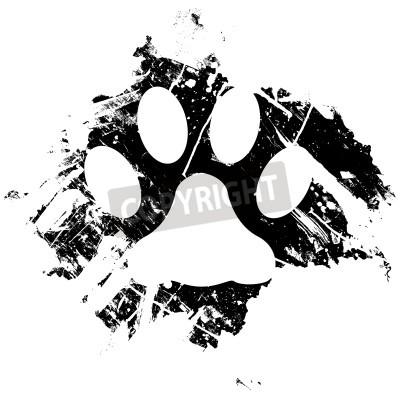 Póster Mascota Grunge o impresión de la pata del gato. Se puede utilizar como fondo o como un elemento de diseño de menor importancia.