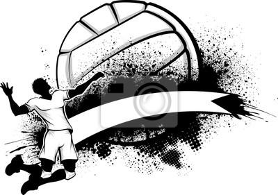 Póster Masculino de Voleibol Grunge Banner