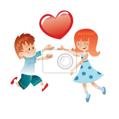 Me encanta el niño y la niña con un corazón rojo