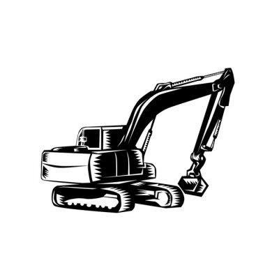 Mechanical Digger Excavator Woodcut Black and White