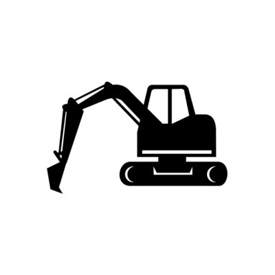 mechanical digger or excavator icon black and white