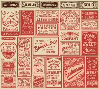 Póster Mega pack retro diseños de publicidad y etiquetas - Vector illust