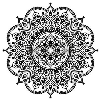Póster Mehndi, indio de la alheña tatuaje patrón o de fondo