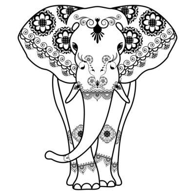 Póster Mehndi tatuaje Elefante decorado en estilo indio