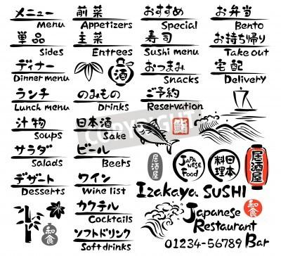 Póster MENÚ comida japonesa, en Inglés y japonés