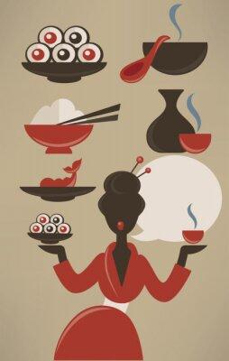 Póster Menú japonés, recogida de alimentos de vectores en el estilo plana
