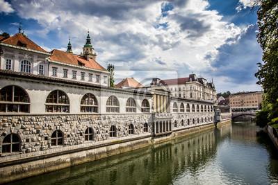 Mercado Central con vistas al canal, Ljubljana, Eslovenia