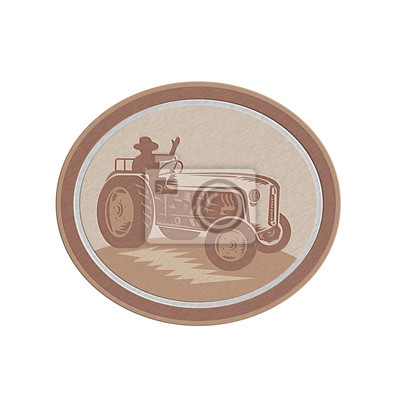Metallic Vintage Tractor agricola conductor que agita retro del círculo