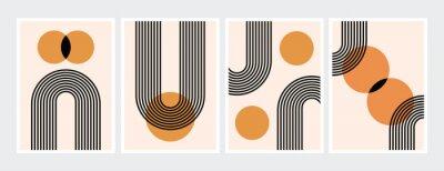 Póster Mid century abstract contemporary aesthetic design  set with geometric balance shapes, modern minimalist artprint.
