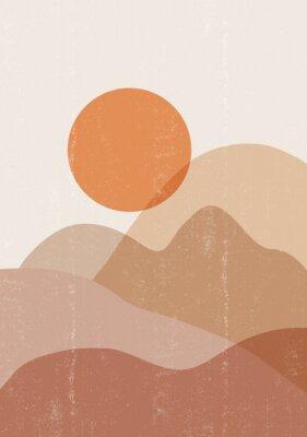 Póster Mid century sunset print boho minimalist printable wall art