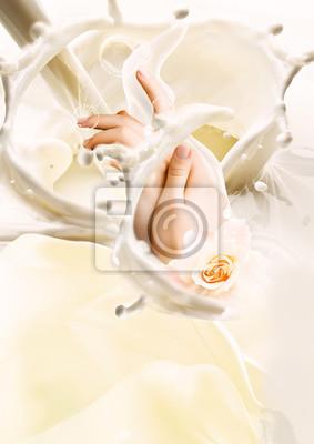Póster Milk and hands. Creative illustration