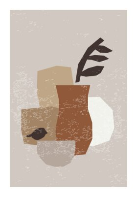 Póster Minimal wall art poster with abstract organic shapes composition in trendy contemporary collage style