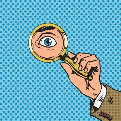 Mira a través de una lupa buscando ojos cómic del arte pop re