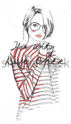 Póster moda dibujo boceto niña con acuarela