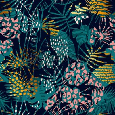 Póster Moda exótica de patrones sin fisuras con plantas tropicales y estampados de animales. Ilustración vectorial Diseño abstracto moderno para papel, papel tapiz, cubierta, tela, decoración de interiores y