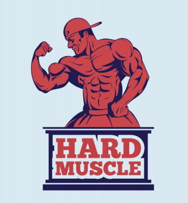 Póster Modelo de la aptitud del bodybuilder que presenta insignia. Emblema del hombre del músculo