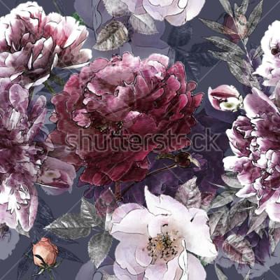 Póster Modelo inconsútil colorido floral del lápiz del vintage del arte con las rosas blancas y las peonías púrpuras en fondo. Doble exposición y efecto bokeh.