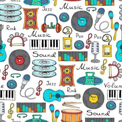 Póster Modelo inconsútil del vector con símbolo dibujado a mano de la música