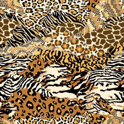Modelo inconsútil del vector del papel pintado abstracto del remiendo de las pieles animales salvajes