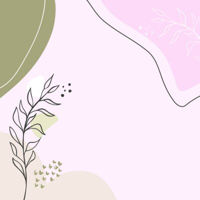 Póster Modern abstract floral art vector leaves background.