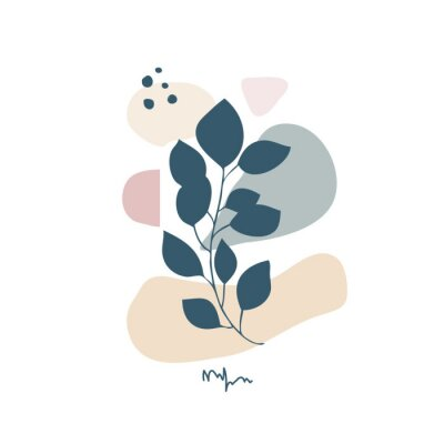 Póster Modern abstract floral art vector leaves background isolated