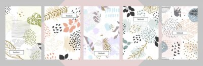Póster Modern abstract floral art vector notebook background.