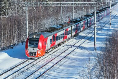 Modern high-speed train moves fast at winter morning time.