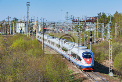 Modern high-speed train moves through the station at spring morning time.