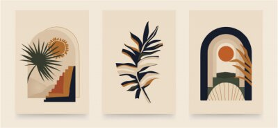 Póster Modern minimalist abstract aesthetic illustrations. Bohemian style wall decor. Collection of contemporary artistic posters.