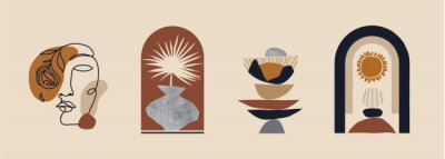 Póster Modern minimalist abstract aesthetic illustrations. Bohemian style wall decor. Collection of contemporary artistic prints.