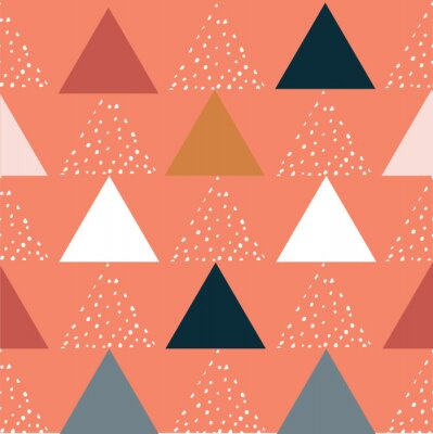 Póster Modern stylish abstract geometric background with colorful triangles in trendy style. Repeating texture of dots in white, black and gray elements on the orange background. Vector seamless pattern.