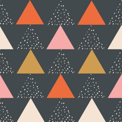 Póster Modern stylish abstract geometric background with triangles. trendy. Repeating texture of triangles on the navy blue background. Vector seamless pattern.