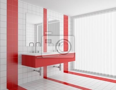 Moderno cuarto de baño con azulejos de color rojo y blanco en ...