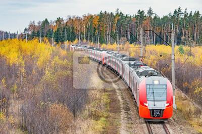 Moderno tren de alta velocidad se acerca a la estación.