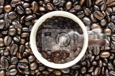 Modernos granos de café y granos de café viejos originales