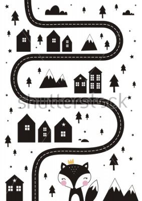 Póster Monochrome Scandinavian vector maze. Cartoon roads with house, tree and car for kids. Vector maze cartoon poster. You can use it to print on the carpet for the decor of the children's room.