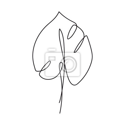 Póster Monstera leaf continuous line drawing. One line . Hand-drawn minimalist illustration, vector.