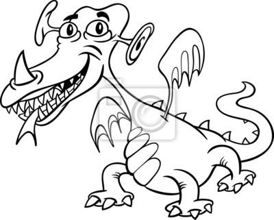 Monstruo de dibujos animados o un dragón para colorear carteles para ...