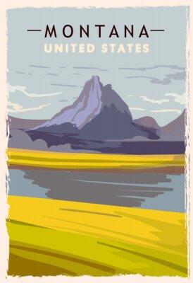 Póster Montana retro poster. USA Montana travel illustration. United States of America greeting card. vector illustration.
