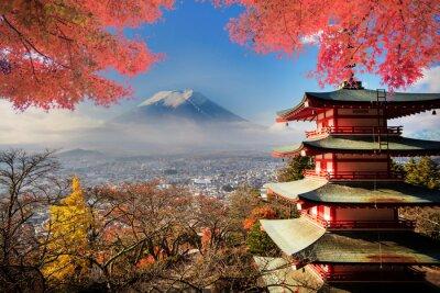 Póster Monte Fuji con los colores del otoño en Japón.