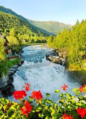 Póster Morning above Bovra river in the Norway.