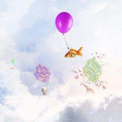 Póster Mosca del pez dorado en el globo