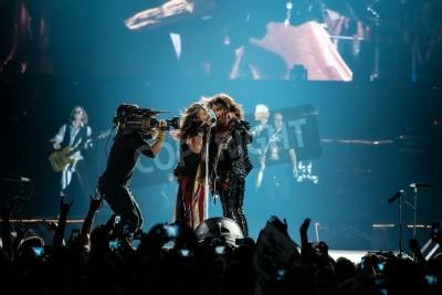 Póster Moscú, Rusia - 24 de mayo 2014 - banda de rock Aerosmith amerocan realiza en Olimpiysky el 24 de mayo de 2014 en Moscú