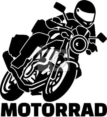 Motobike con motorista y palabra alemana