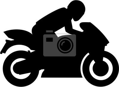 Motocicleta con la silueta del conductor