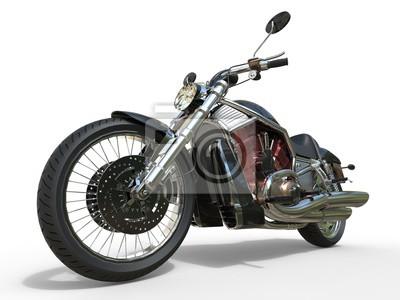 Póster Motocicleta de gran alcance del vintage - motor rojo