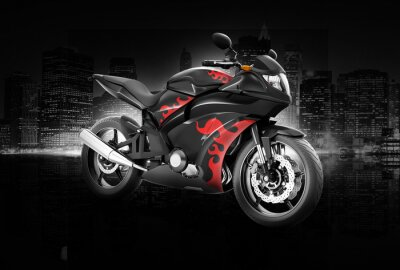 Póster Motocicleta Moto Bike Riding Jinete Concepto Contemporáneo