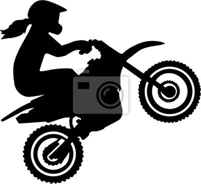 Motocross, conductor, mujer, silueta